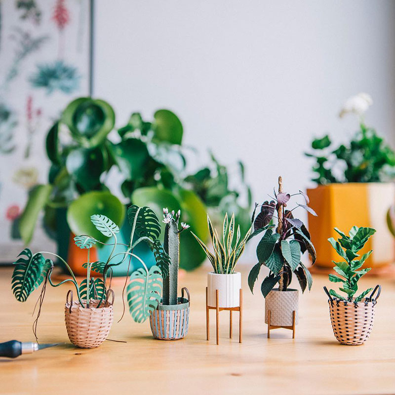 miniature paper potted plants by raya sader bujana 5 These Miniature Potted Plants Made from Paper are Just Adorable