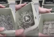 This Video of a Guy Organizing a Box of Nails Has People Swearing It's Reversed