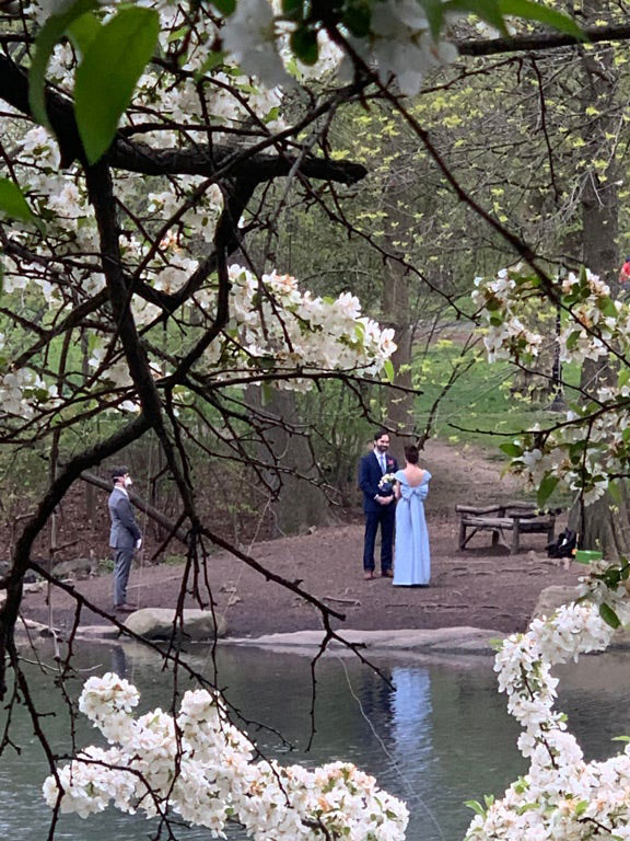 guy comes across wedding in central park during pandemic Guy Stumbles Across a Wedding While on a Walk Through Central Park