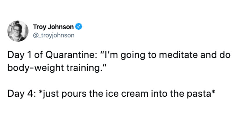 just pours the ice cream into the pasta tweet The Shirk Report – Volume 572