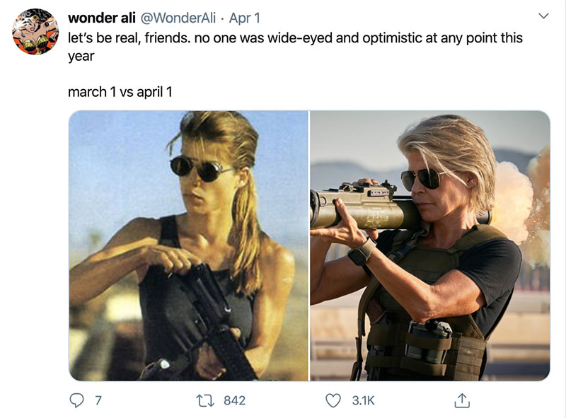 "march 1 vs march 31 april 1 meme best of 32 These ""March 1 vs April 1"" Posts Perfectly Capture How Intense the Last Month Was"
