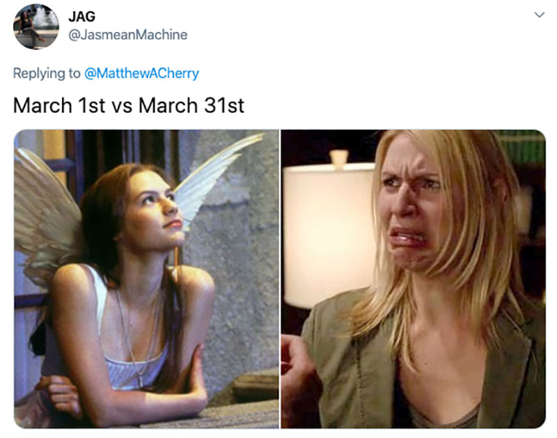 "march 1 vs march 31 april 1 meme best of 42 These ""March 1 vs April 1"" Posts Perfectly Capture How Intense the Last Month Was"