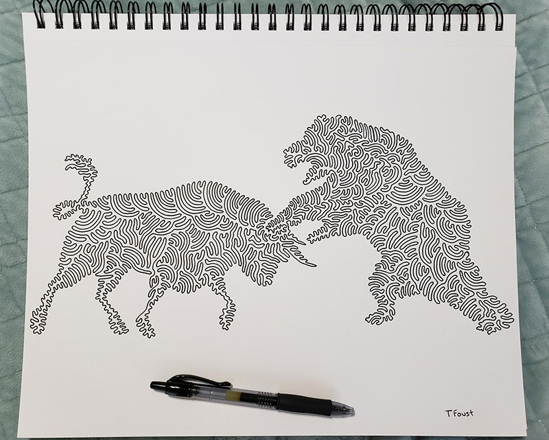 one line illustrations by tyler foust 5 Tyler Foust Makes Wonderful Illustrations Using One Continuous Line