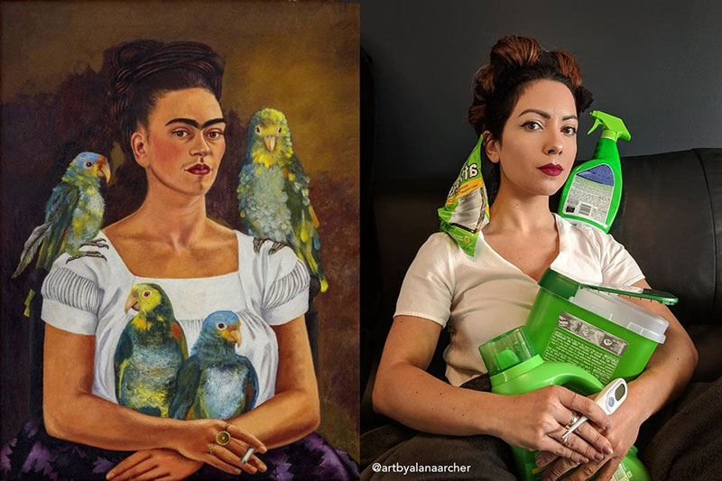 people recreating famous paintings at home getty museum challenge 22 People Stuck at Home are Recreating Famous Paintings and Its Awesome