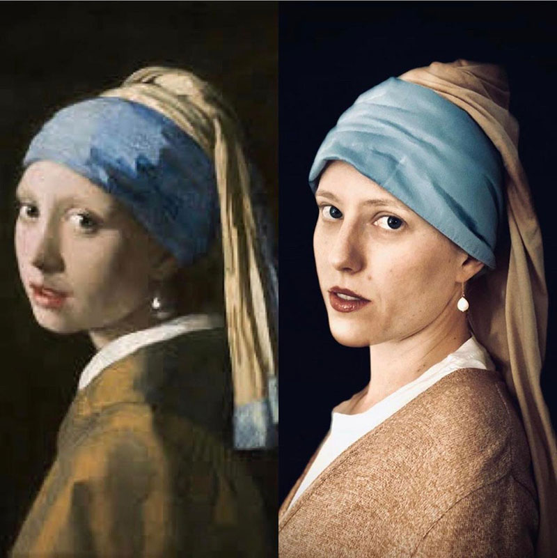 people recreating famous paintings at home getty museum challenge 24 People Stuck at Home are Recreating Famous Paintings and Its Awesome