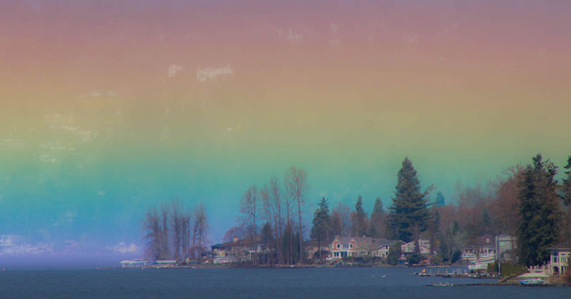 Photographer Captures Breathtaking Horizontal Rainbow Over Lake Sammamish