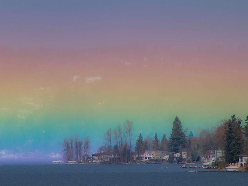 photographer captures rare horizontal rainbow Photographer Captures Breathtaking Horizontal Rainbow Over Lake Sammamish