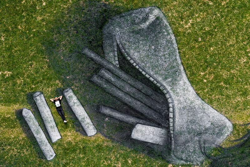 beyond crisis by saype switzerland land art 8 Massive Biodegradable Artwork of Hope Appears Atop Swiss Hillside