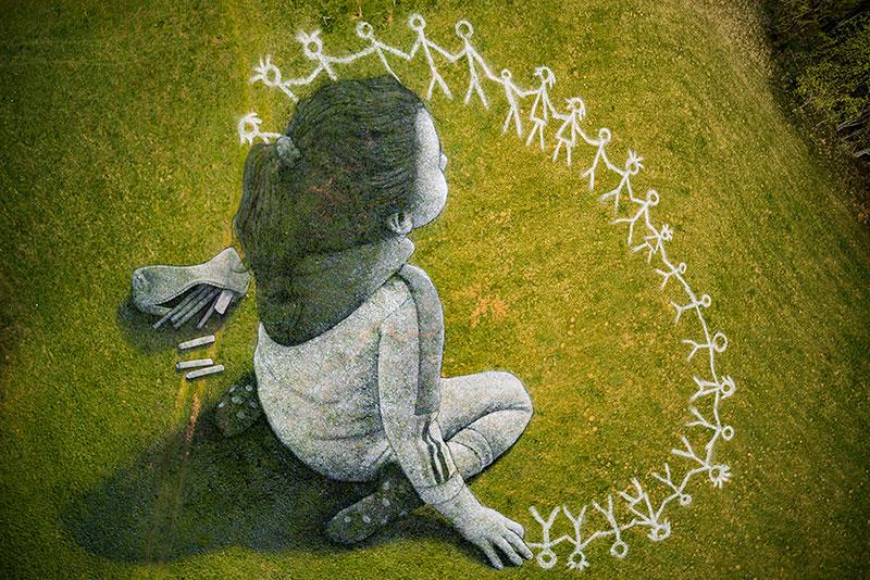 beyond crisis by saype switzerland land art 9 Massive Biodegradable Artwork of Hope Appears Atop Swiss Hillside