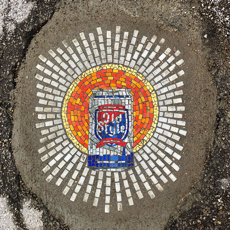 jim bachor repairs potholes with quarantine mosaics 1 Chicago Artist Repairs Four Big Potholes with Amazing Quarantine Mosaics