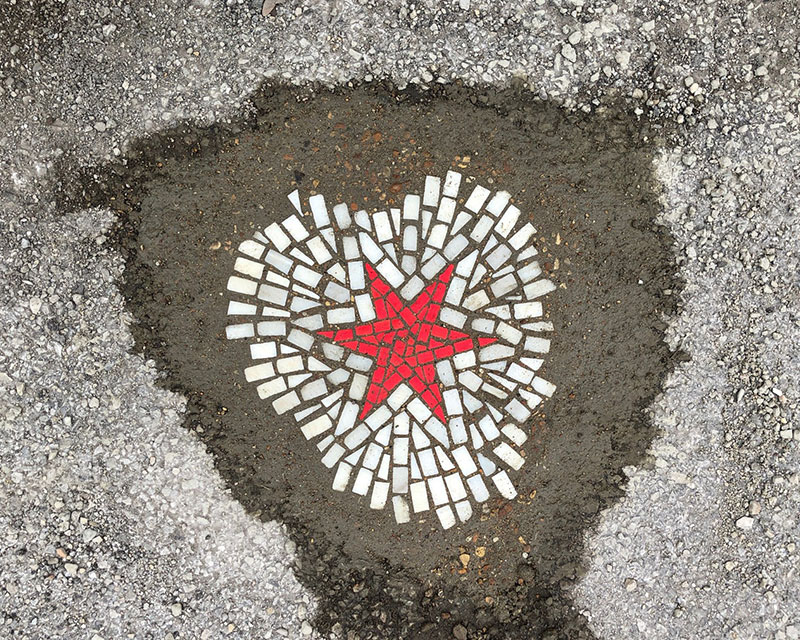 jim bachor repairs potholes with quarantine mosaics 2 Chicago Artist Repairs Four Big Potholes with Amazing Quarantine Mosaics