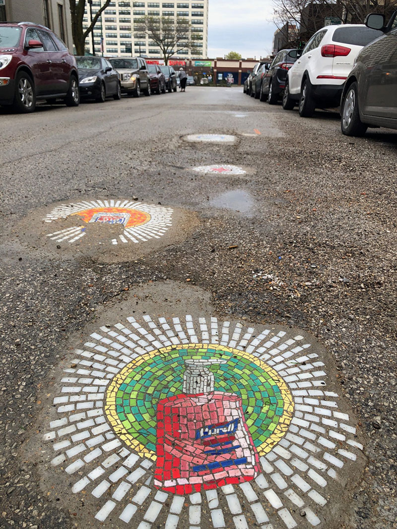 jim bachor repairs potholes with quarantine mosaics 5 Chicago Artist Repairs Four Big Potholes with Amazing Quarantine Mosaics
