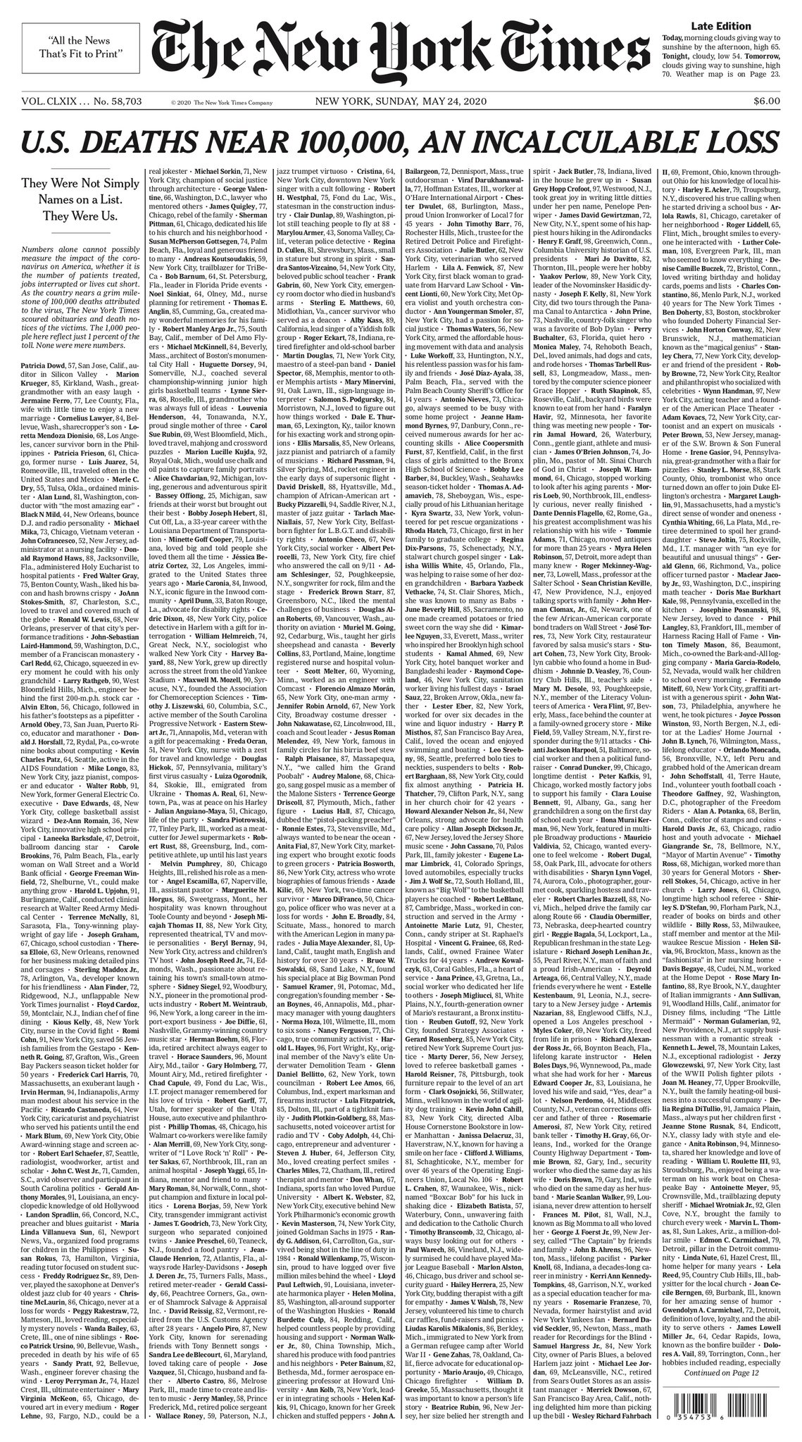 new york times sunday front page may 24 2020 covid named obits This Was the Front Page of the Sunday Edition of the New York Times