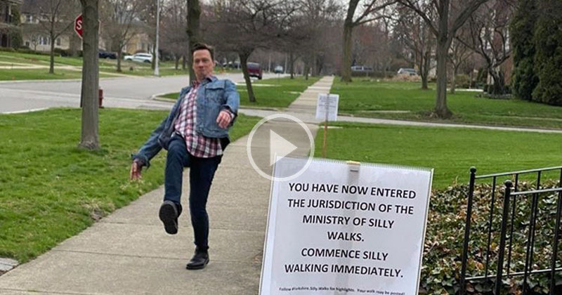 Michigan Mom's Silly Walks Sign Sparks Brief Moment of Joy in the Neighborhood
