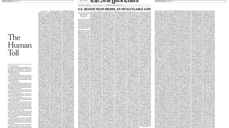 sunday new york times covid coronavirus obituaries and names This Was the Front Page of the Sunday Edition of the New York Times