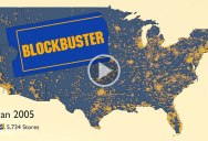 Blockbuster Video Locations in the US from 1986 to 2019