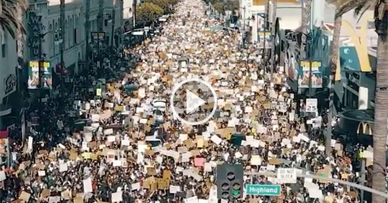Drone Captures LA's Largest Anti-Racism Protest Ever from Above