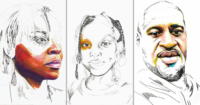 stolen portraits by adrian brandon 15 Artist Channels Grief Into Unfinished Portraits Where 1 Year of Life = 1 Minute of Color