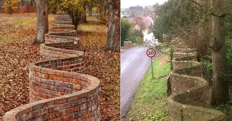 Popularized in England, These Wavy Walls Actually Use Fewer Bricks Than a Straight Wall