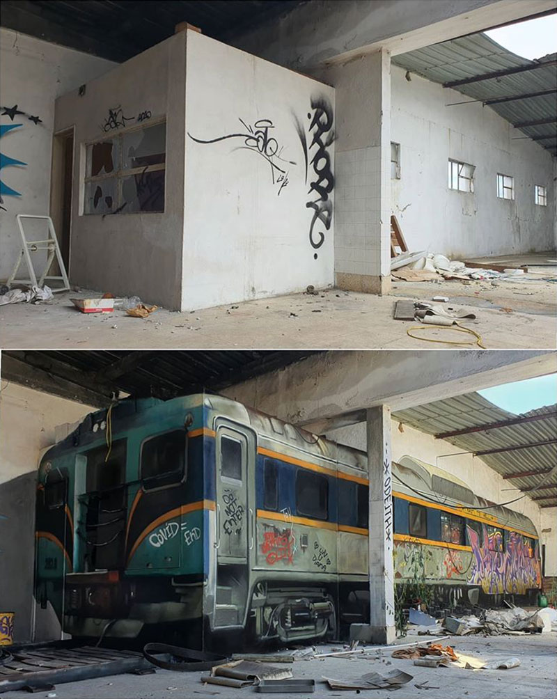 3d street art train by odeith 1 A Little Paint Can Turn This Into That