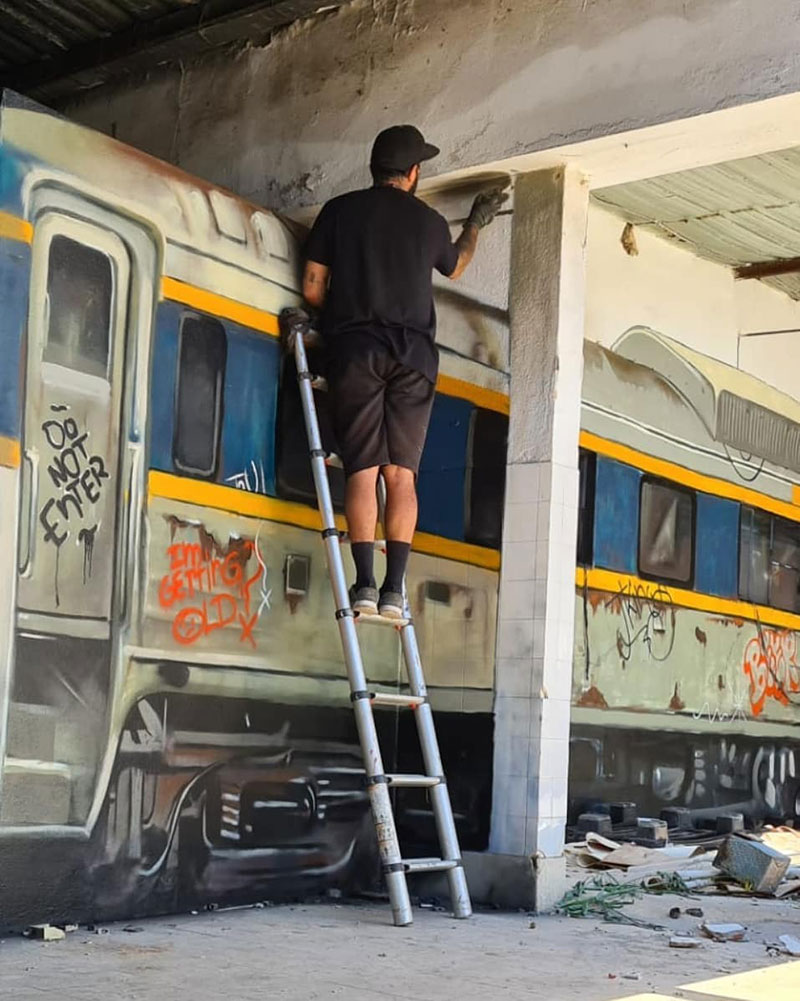 3d street art train by odeith 5 A Little Paint Can Turn This Into That