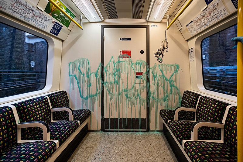 banksy strikes london tube july 2020 2 I get lockdown. But I get up again   Banksy Strikes London Tube with Mask Message