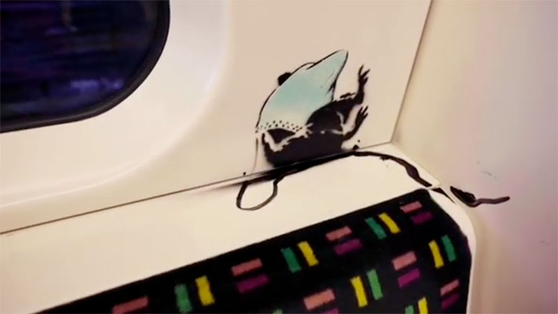 banksy strikes london tube july 2020 5 I get lockdown. But I get up again   Banksy Strikes London Tube with Mask Message