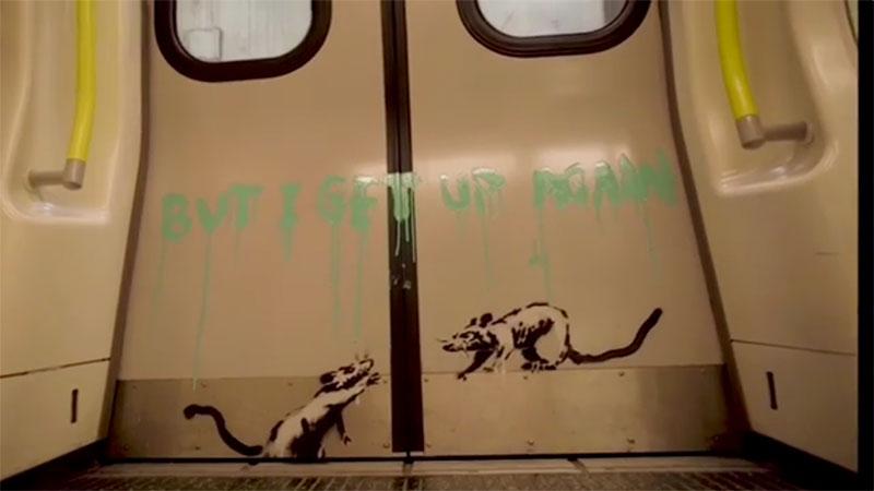 banksy strikes london tube july 2020 7 I get lockdown. But I get up again   Banksy Strikes London Tube with Mask Message