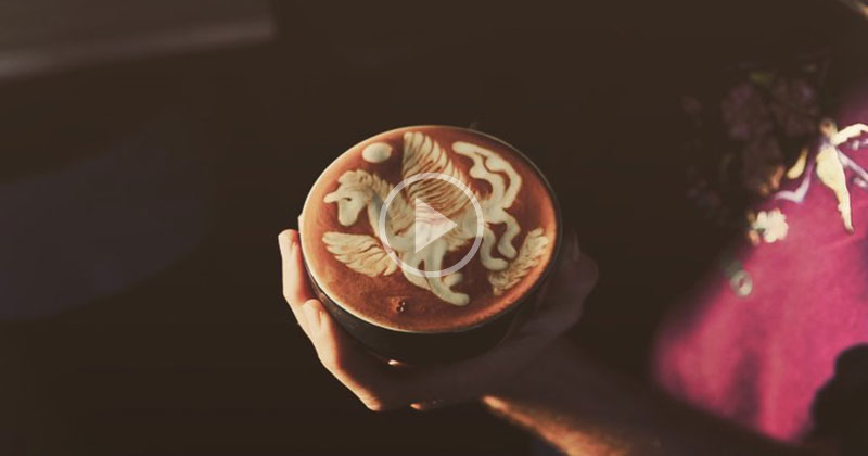 This Free Pour Pegasus Latte Art is Soothing to Watch