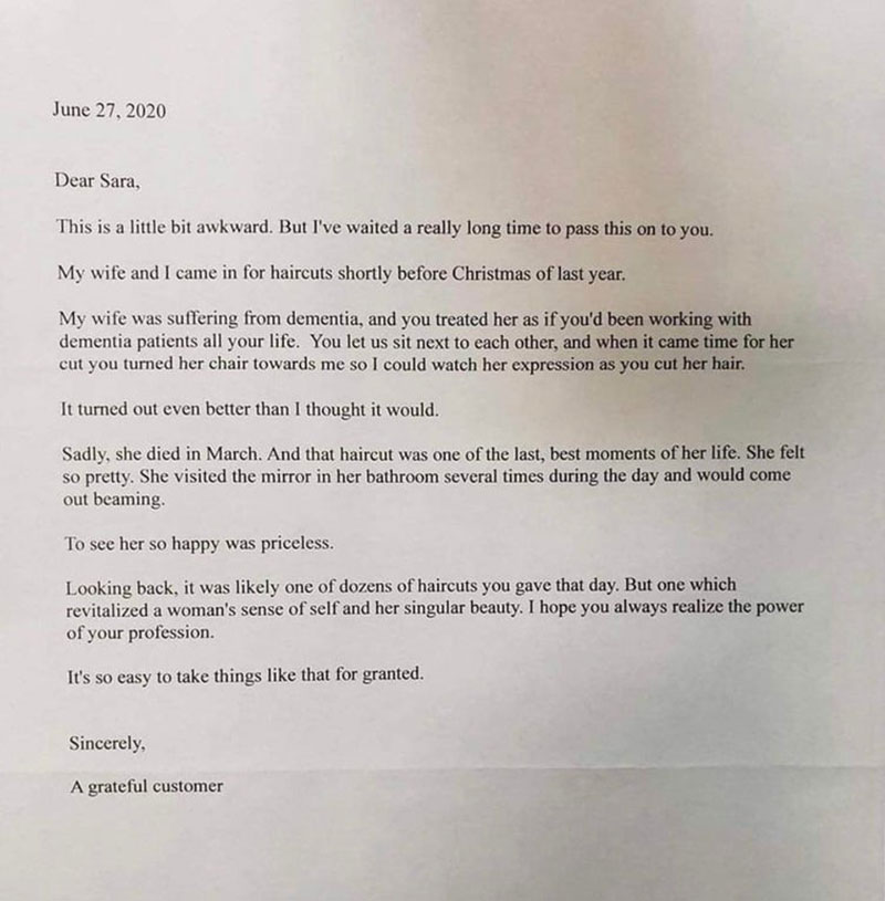 hair dresser thank you letter uplifting This is one of those gestures that a person remembers for the rest of their life