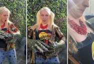 Baby Hummingbird Lands on Woman Wearing Giant Monster Hands