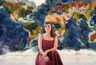 Handmade from Recycled Wool, this 20 ft Long Tapestry of the World is Incredible