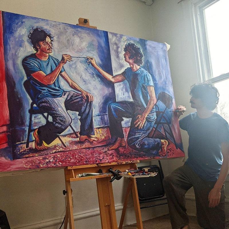 painting recursive self portraits by seamus wray 1 This Artist Keeps Painting Himself, Painting Himself, Painting Himself...