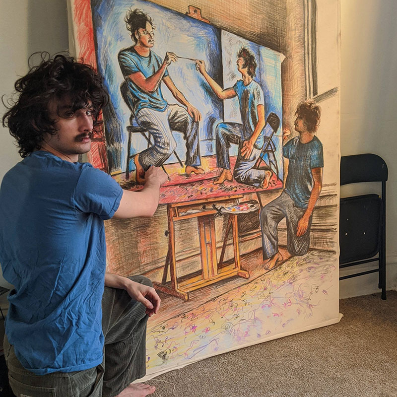 painting recursive self portraits by seamus wray 3 This Artist Keeps Painting Himself, Painting Himself, Painting Himself...