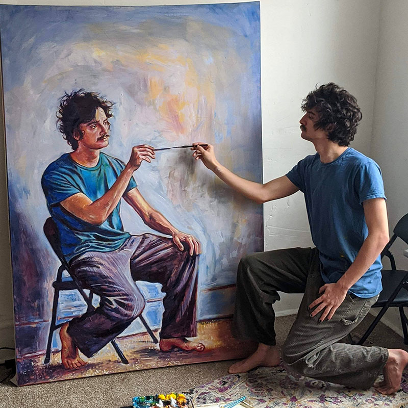 painting recursive self portraits by seamus wray 5 This Artist Keeps Painting Himself, Painting Himself, Painting Himself...