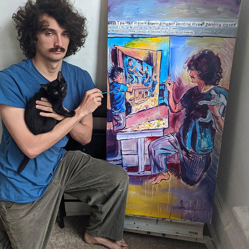 painting recursive self portraits by seamus wray 6 This Artist Keeps Painting Himself, Painting Himself, Painting Himself...