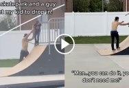 Random Guy at Skate Park Teaches Kid How To Drop In
