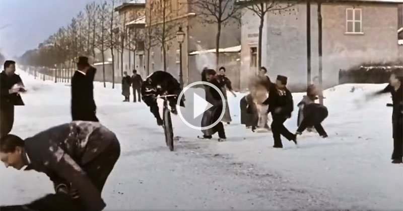 Someone Colorized and Upscaled a Snowball Fight from 1896 and It's Amazing