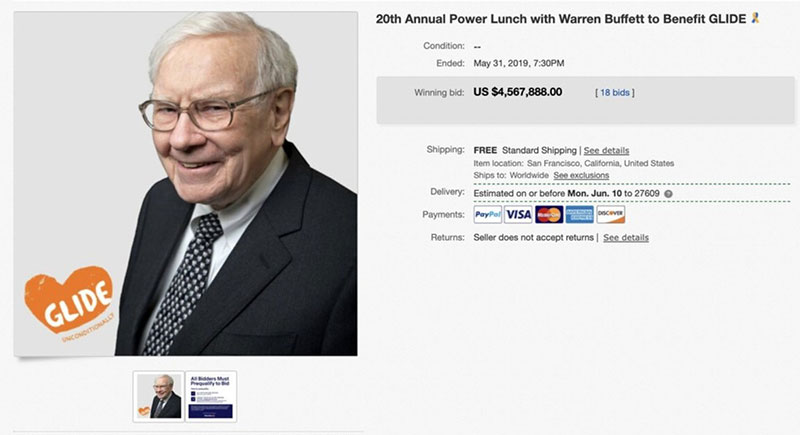 ebay lunch with warren buffett most expensive 1 The 25 Most Expensive Things Ever Sold on eBay