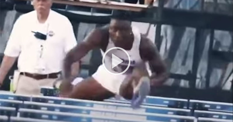 Someone Stabilized a World Champion Hurdler's Head as He Raced and It Looks Surreal