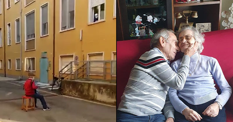 81-Year-Old Husband Unable to Visit Wife in Hospital Serenades Her from Courtyard
