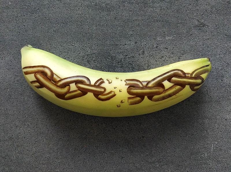 bruised banana art by anna chojnicka 25 Amazing Banana Art Made by Poking and Bruising the Skin, No Ink is Used