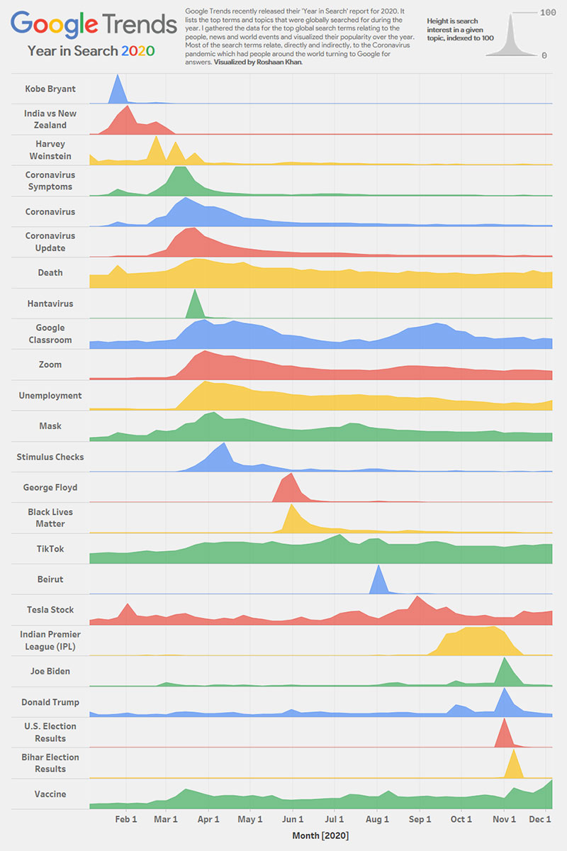 google trends 2020 year in search infographic visualization Google Trends Year in Search 2020 Visualized