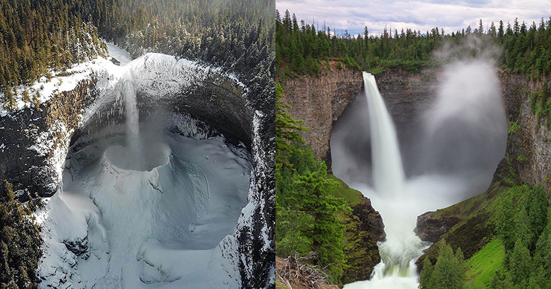 Helmcken Falls in BC, Canada Looks Incredible No Matter What the Season Is