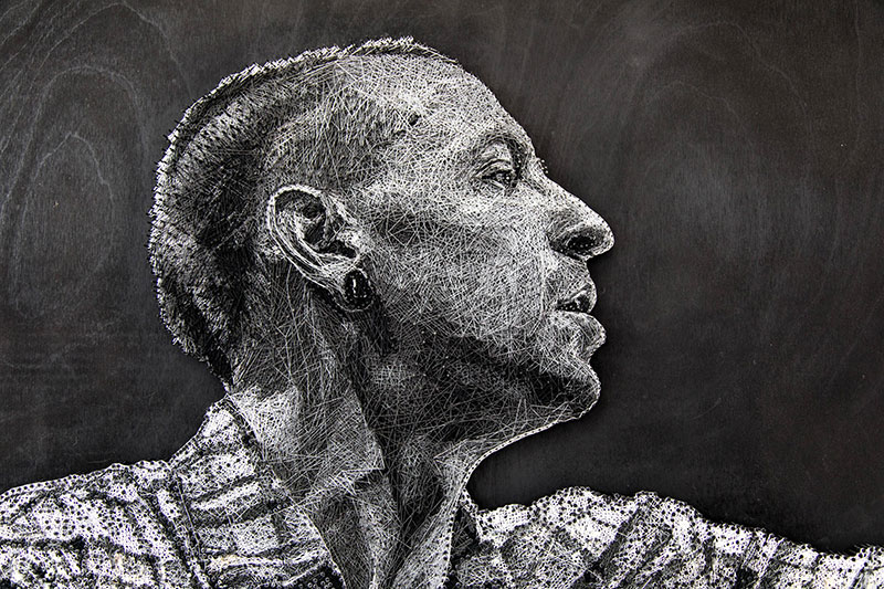 linkin park chester bennington made from thread nails by Konstantin Hlanta 1 Portrait of Linkin Parks Chester Bennington Made Entirely Out of Thread and Nails