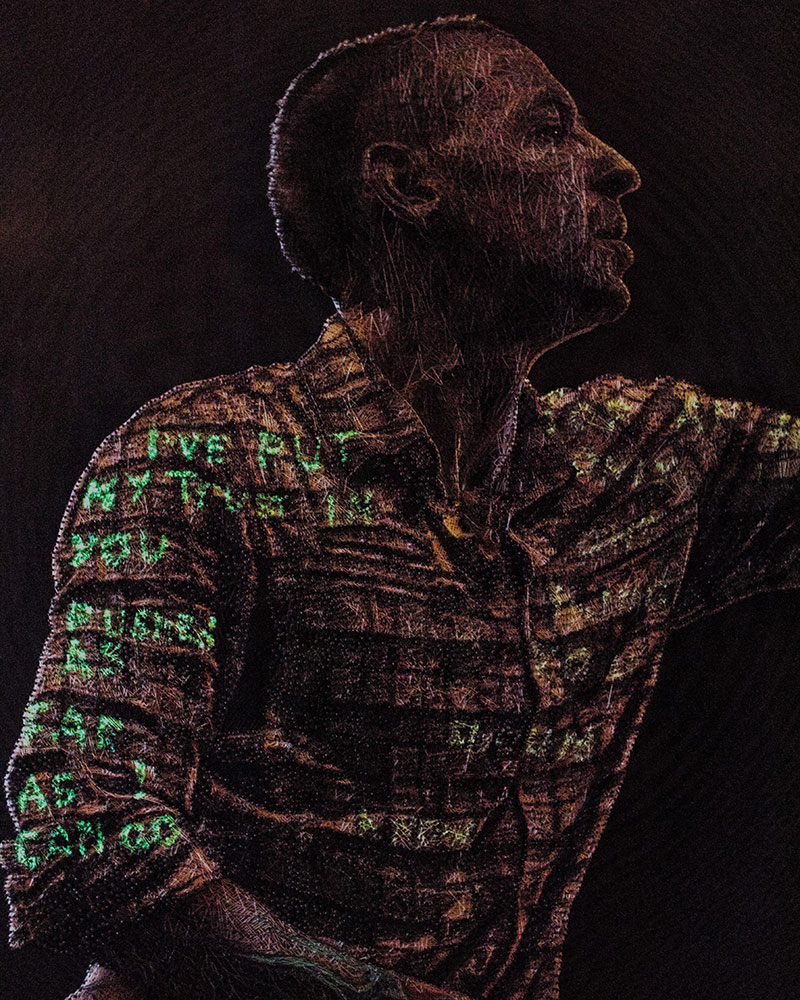 linkin park chester bennington made from thread nails by Konstantin Hlanta 4 Portrait of Linkin Parks Chester Bennington Made Entirely Out of Thread and Nails