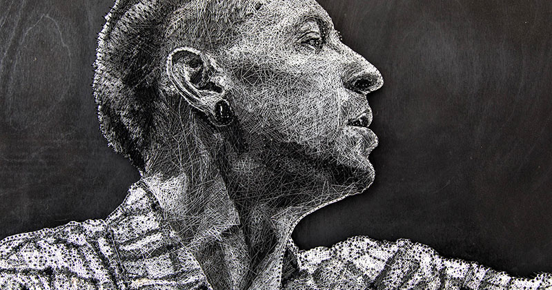 Portrait of Linkin Park's Chester Bennington Made Entirely Out of Thread and Nails