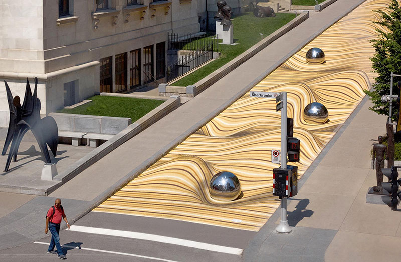 sand dune street mural montreal by nos 3 Amazing Street Mural Turns Pedestrian Walkway Into Giant Undulating Sand Dune
