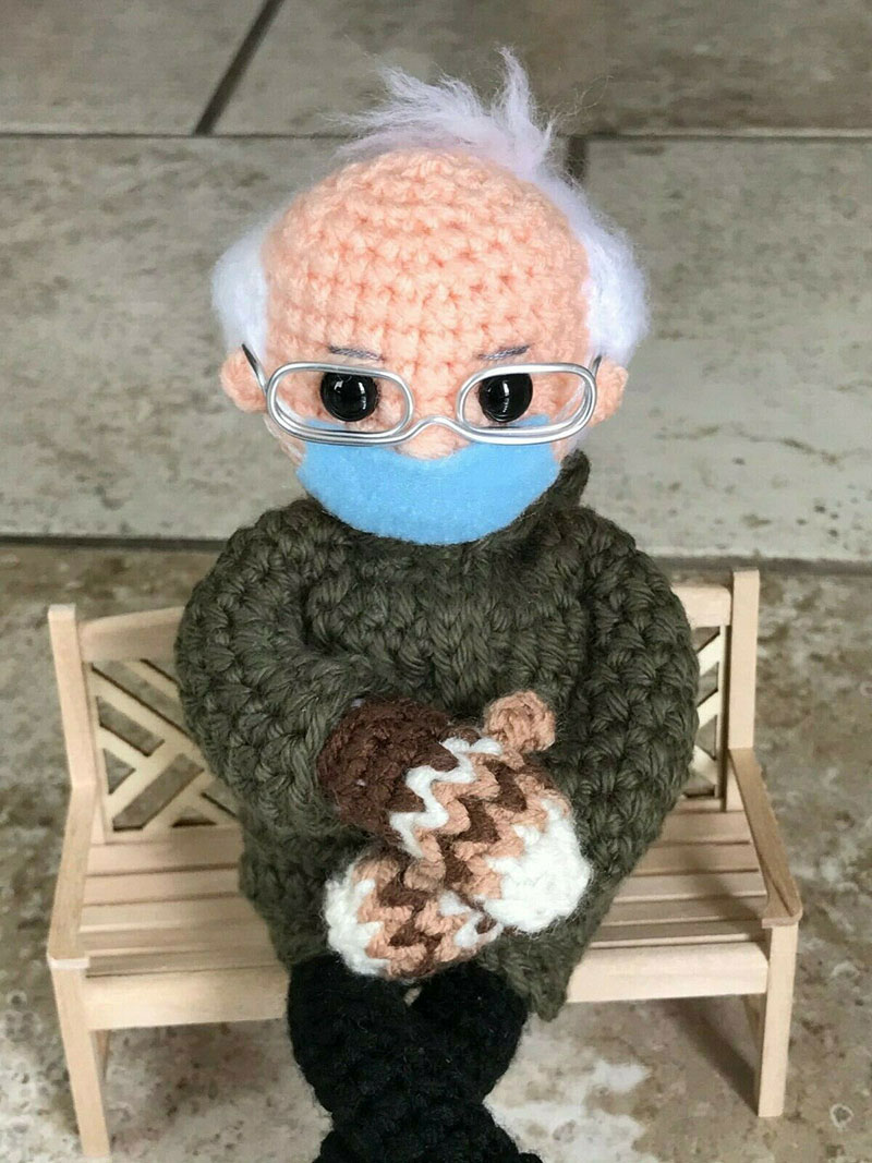 bernie sanders mittens crochet 1 This Artists Bernie Sanders Mittens Crochet Went Viral So Shes Donating It to Charity
