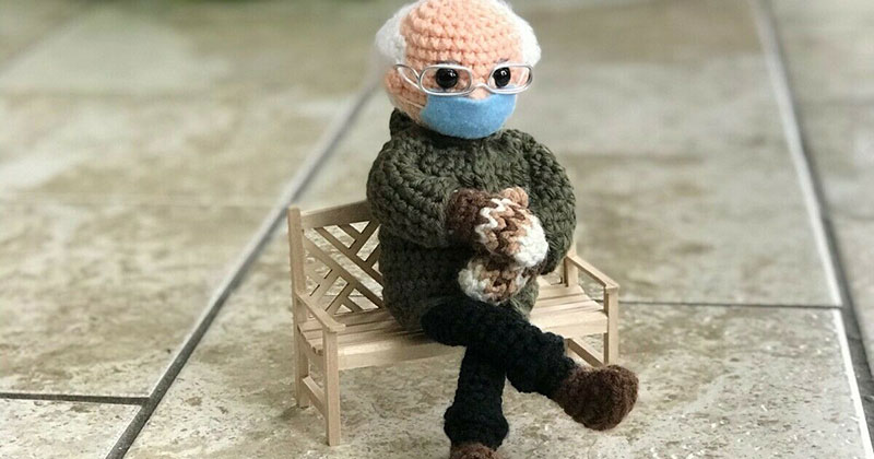 This Artist's Bernie Sanders Mittens Crochet Went Viral So She's Donating It to Charity